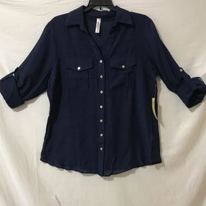PERSEPTION CONCEPT LONG SLEEVE NAVY TOP
